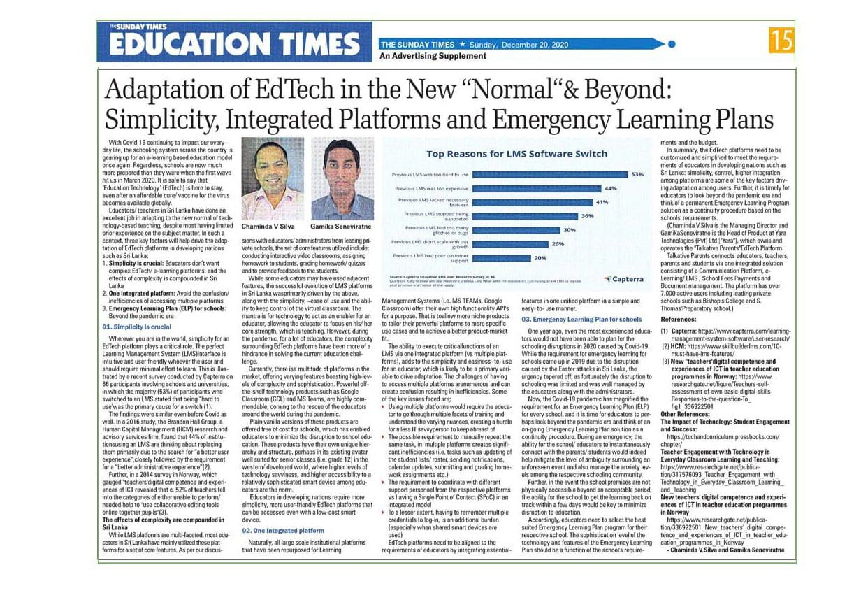 "Adaptation of EdTech in the New ""Normal""& Beyond: Simplicity, Integrated Platforms and Emergency Learning Plans"